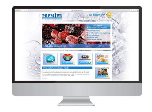 Web Design project for Premier Frozen Foods